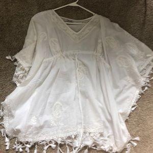 White bo ho fringe shirt or cover up